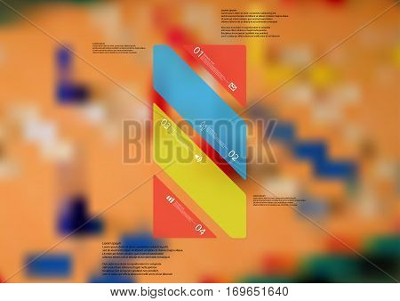 Illustration infographic template with motif of color bar askew divided to four standalone sections. Blurred photo with motif of ludo board game is used as background.