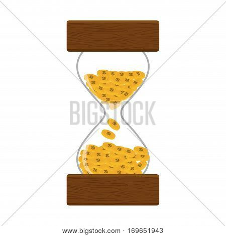 hourglass or sandglass with coins time is money  icon image vector illustration design