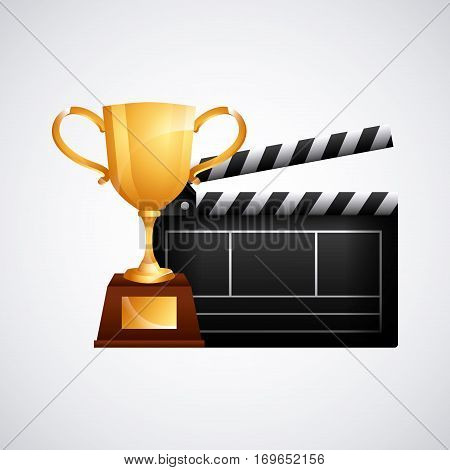 trophy and clapboard icon over white background. colorful desing. vector illustration