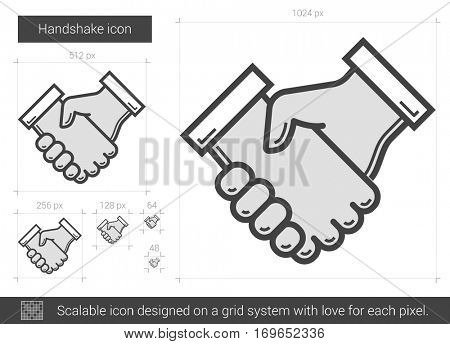 Handshake vector line icon isolated on white background. Handshake line icon for infographic, website or app. Scalable icon designed on a grid system.