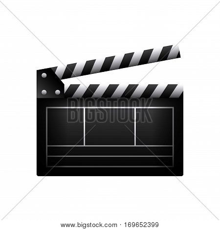 clapboard icon over white background. colorful design. vector illustration
