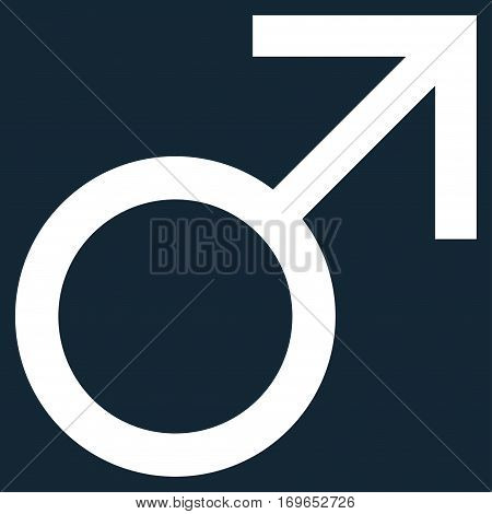 Mars Male Symbol flat icon. Vector white symbol. Pictograph is isolated on a dark blue background. Trendy flat style illustration for web site design logo ads apps user interface.