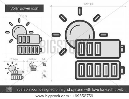 Solar power vector line icon isolated on white background. Solar power line icon for infographic, website or app. Scalable icon designed on a grid system.