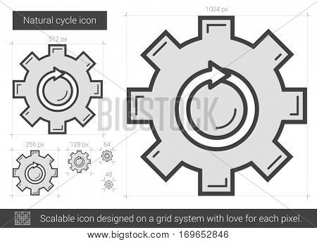 Natural cycle vector line icon isolated on white background. Natural cycle line icon for infographic, website or app. Scalable icon designed on a grid system.
