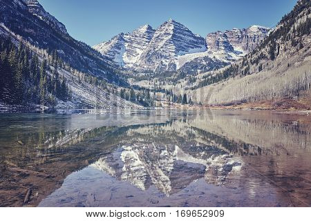 Retro Color Toned Maroon Bells Mountain Lake Landscape, Usa.