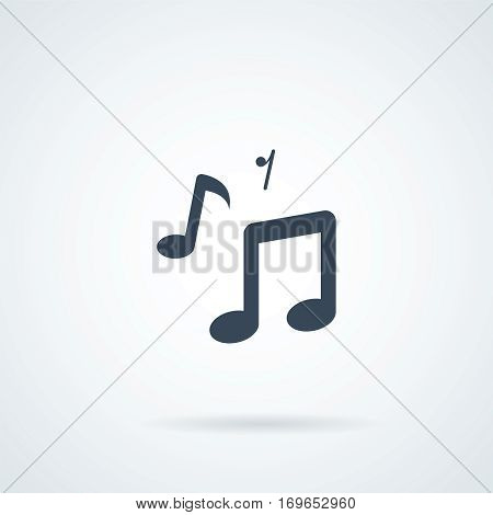 music note icon. Musical note icon, modern minimal flat design style, vector illustration.stock vector illustration