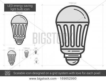 LED energy saving light bulb vector line icon isolated on white background. LED energy saving light bulb line icon for infographic, website or app. Scalable icon designed on a grid system.