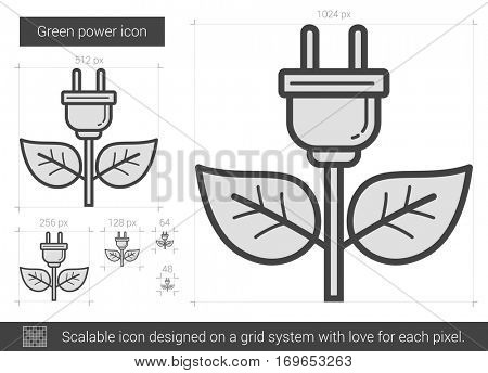 Green power vector line icon isolated on white background. Green power line icon for infographic, website or app. Scalable icon designed on a grid system.