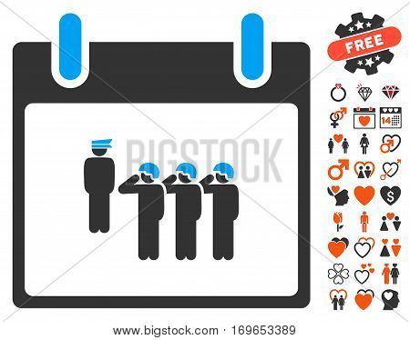 Army Squad Calendar Day icon with bonus decoration images. Vector illustration style is flat iconic elements for web design app user interfaces.