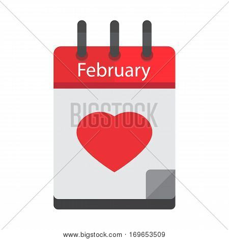 February 14. Calendar icon.Valentines day.Love.Vector illustrationflat styleMonth and date