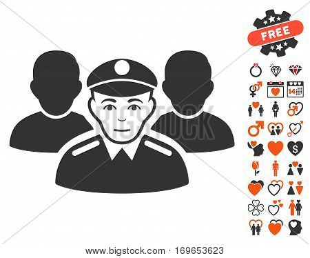 Army Team icon with bonus lovely design elements. Vector illustration style is flat iconic symbols for web design app user interfaces.