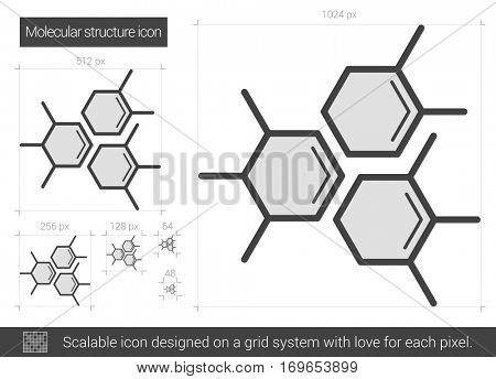 Molecular structure vector line icon isolated on white background. Molecular structure line icon for infographic, website or app. Scalable icon designed on a grid system.