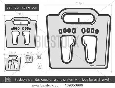 Bathroom scale vector line icon isolated on white background. Bathroom scale line icon for infographic, website or app. Scalable icon designed on a grid system.