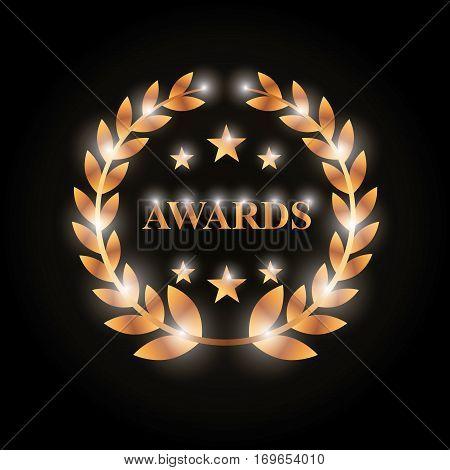 gold wreath of leaves over black background. actors awards concept. colorful design. vector illustration