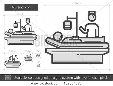 Nursing vector line icon isolated on white background. Nursing line icon for infographic, website or app. Scalable icon designed on a grid system.