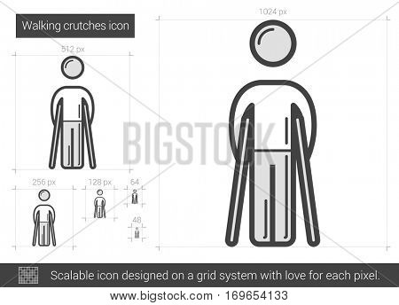 Walking crutches vector line icon isolated on white background. Walking crutches line icon for infographic, website or app. Scalable icon designed on a grid system.