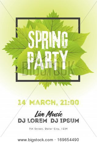 Spring Night Club Party Flyer Invitation Vector Illustration. Poster Template. White And Green Backg