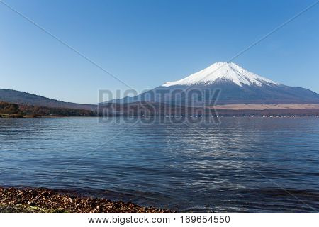 Lake Yamanashi and Mount Fuji in Japan