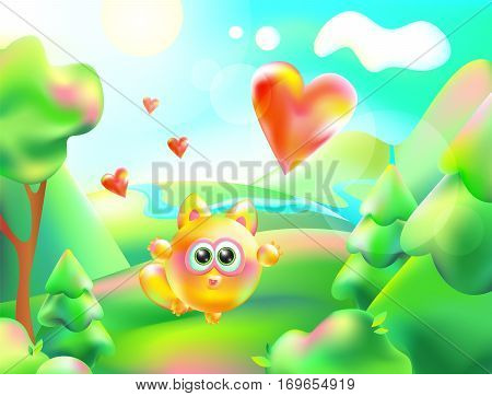 Vector illustration of colorful nature. Cartoon landscape of a sunny summer day and small cute cat. Children background mountain river trees sky clouds. Heart fly into the sky. Symbol of love
