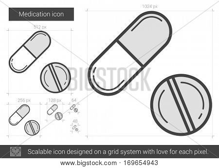 Medication vector line icon isolated on white background. Medication line icon for infographic, website or app. Scalable icon designed on a grid system.
