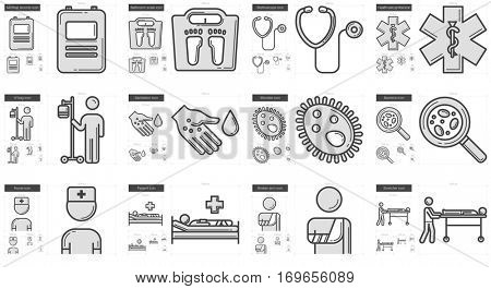 Medicine vector line icon set isolated on white background. Medicine line icon set for infographic, website or app. Scalable icon designed on a grid system.