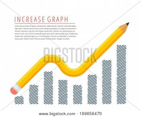 Flat infographic increase profit graph concept. Yellow pencil as a growth arrow with hand drawn column chart. Infographics vector elements for business publish web social media.