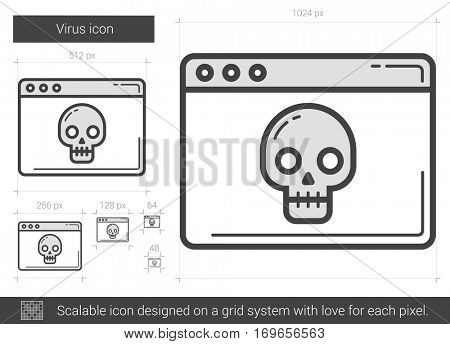 Virus vector line icon isolated on white background. Virus line icon for infographic, website or app. Scalable icon designed on a grid system.