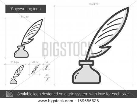 Copywriting vector line icon isolated on white background. Copywriting line icon for infographic, website or app. Scalable icon designed on a grid system.