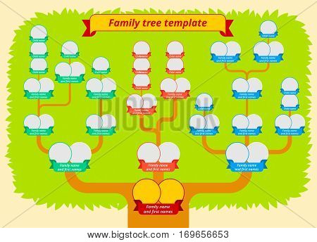 Family tree template. Modern flat style illustration of tree with leaves branches and photo borders with ribbons. Genealogy table vector design.