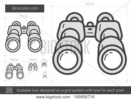 Binoculars vector line icon isolated on white background. Binoculars line icon for infographic, website or app. Scalable icon designed on a grid system.