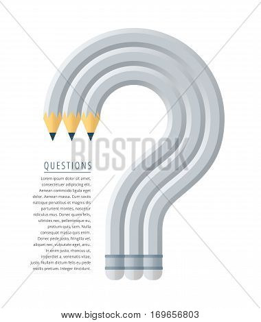 Flat stile graphic education and business concept. Group of grey pencils as a question mark symbol. Infographic vector elements for web magazine articles publish social networks.
