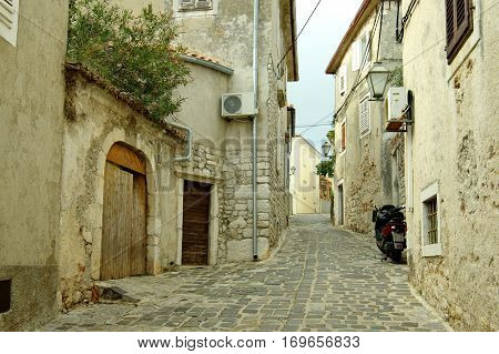 Krk Croatia - September 19 2016: a town in the south of the island of Krk. It is a tourist resort in old town there are preserved fragments of buildings from Roman times.