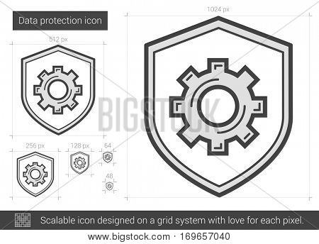 Data protection vector line icon isolated on white background. Data protection line icon for infographic, website or app. Scalable icon designed on a grid system.