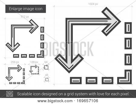 Enlarge image vector line icon isolated on white background. Enlarge image line icon for infographic, website or app. Scalable icon designed on a grid system.