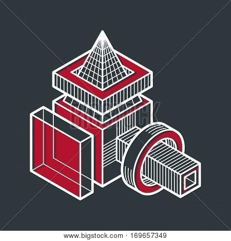 Engineering Three-dimensional Construction, Abstract Vector Trigonometric Shape.