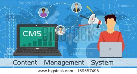 Vector Horizontal Banner on blue background of CMS - content management system in flat style. Man with computer laptop with chart on screen and avatars of customers worldwide