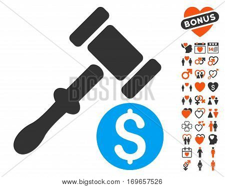 Auction pictograph with bonus decoration icon set. Vector illustration style is flat iconic symbols for web design app user interfaces.