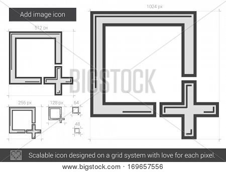 Add image vector line icon isolated on white background. Add image line icon for infographic, website or app. Scalable icon designed on a grid system.