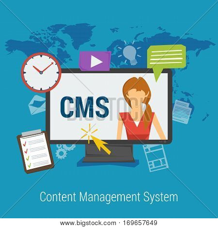 Vector square Banner on blue background of Content Management System. Woman on computer monitor with letters CMS and web elements in flat style