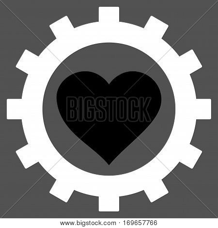 Love Heart Options Gear flat icon. Vector bicolor black and white symbol. Pictograph is isolated on a gray background. Trendy flat style illustration for web site design logo ads apps