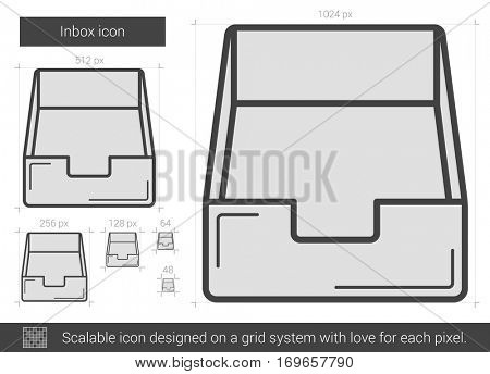 Inbox vector line icon isolated on white background. Inbox line icon for infographic, website or app. Scalable icon designed on a grid system.