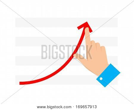 Improve business concept. Flat illustration of chart graph and hand. Businessman push growth arrow to improve progress and get profit. Vector infographic element for web publishing social networks.