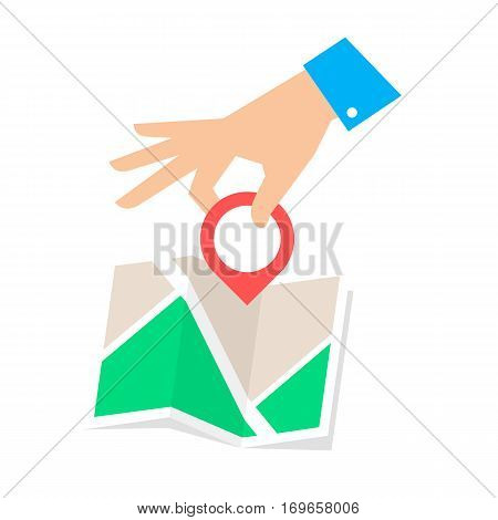 Location pointer concept. Flat vector illustration of map and hand with pin marker. Man is pointing a place on the plan. Infographic element for web publishing social networks.