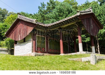 Red desks house near the Tomb of King Kongmin, a 14th-century mausoleum located in Haeson-ri, Kaepung County, outside of the city of Kaesong, North Korea.