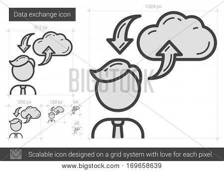 Data exchange vector line icon isolated on white background. Data exchange line icon for infographic, website or app. Scalable icon designed on a grid system.