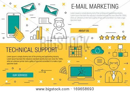 Vector two thin lines banners - e-mail marketing and technical support on white and yellow background. Woman with smartphone sending a electronic letters. Male online operator and customer service