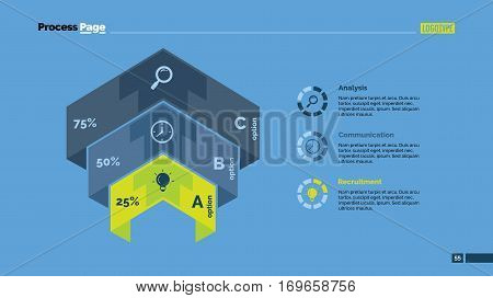 Three options comparison percentage chart. Business data. Graph, diagram, design. Concept for infographic, presentation, report. Can be used for topics like analysis, statistics, finance.
