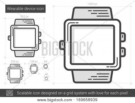 Wearable device vector line icon isolated on white background. Wearable device line icon for infographic, website or app. Scalable icon designed on a grid system.