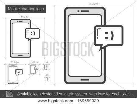Mobile chatting vector line icon isolated on white background. Mobile chatting line icon for infographic, website or app. Scalable icon designed on a grid system.