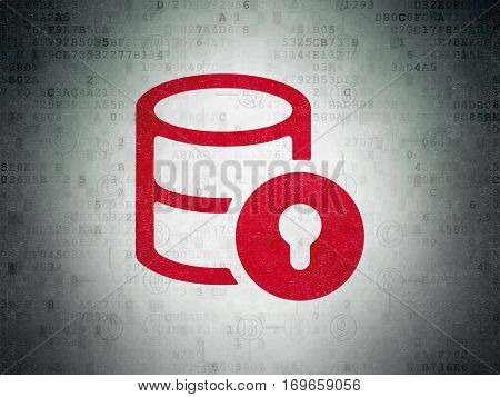 Database concept: Painted red Database With Lock icon on Digital Data Paper background with Scheme Of Hexadecimal Code